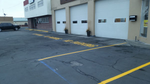 Example of parking lot striping in Wenatchee, WA